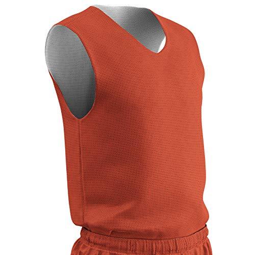 Champro BBJPYORWL Wendbares Basketballtrikot aus Polyester, Orange, Weiß, Large