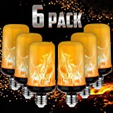 Pretigo 2021 Upgrade Silver Case LED Flame Effect Light Bulb 4 Modes with Upside Down Effect E26 Base LED Bulb Flame Bulb for Christmas Home/Hotel/Bar Party Decoration (6 Pack)