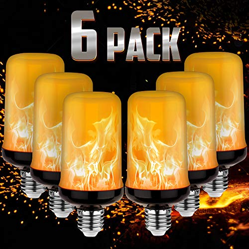 LED Yellow Fire Flame Effect Light Bulbs Silver Case, 6W E26/E27 Simulated Flames, 4 Mode Types Flickering Light Bulbs for Vintage Indoor Outdoor Decor (6-Pack)