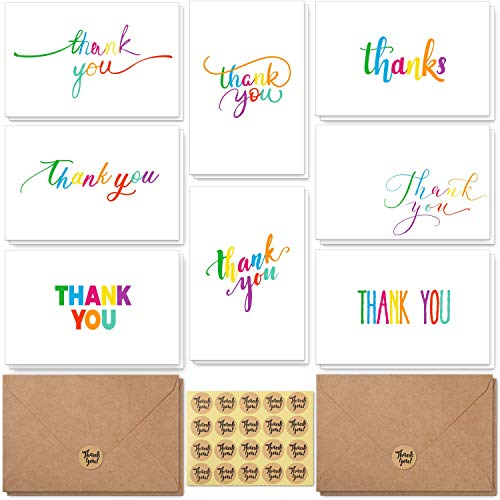 Thank You Cards, 48 Pack 8 Designs Colorful Rainbow Thank You Notes with Envelopes and Stickers, Blank Inside Greeting Cards for Mother's Day, Wedding, Baby Shower, Business and All Occasions 4x6in