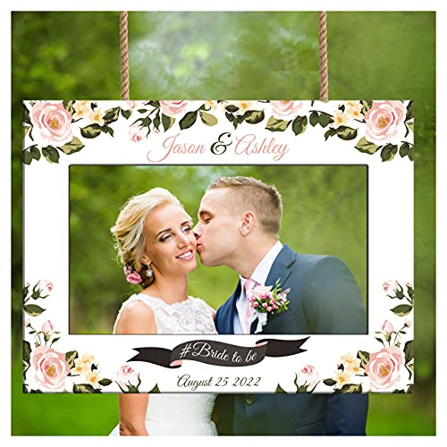 Personalized Photo Booth Frame -Custom Roses Wedding Photo Booth Frame - Wedding Selfie Station - Photo Booth Frame for Wedding