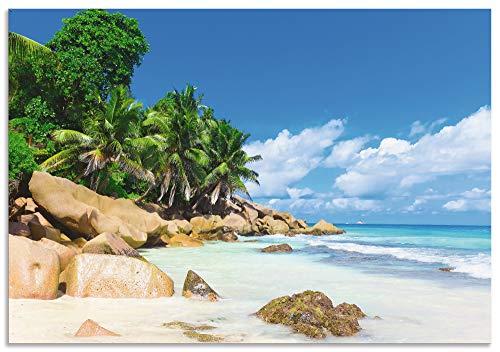 Artland Wandbild Alu für Innen & Outdoor Metall Bild 130x90 cm Landschaften Küste Karibik Fotografie Bunt Küste R2PV