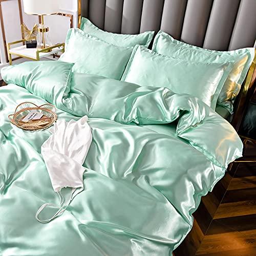 ropa de cama 135x190 3 piezas,Lavado de agua de verano ropa de cama de seda de cuatro piezas Vestido de deslizamiento de cuatro piezas Anti-arrugas Anti-alergia es conjunto de funda de almohada plana