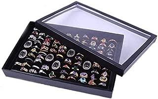 Display Tray Velvet 100 Slot Rings Case Box Storage for Women Girlfriend Ladies Wedding Engagement Anniversary Simple Jewelry Gift
