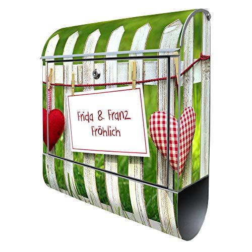 Banjado Design Briefkasten mit Motiv Gartenzaun | Stahl pulverbeschichtet mit Zeitungsrolle | Größe 39x47x14cm, 2 Schlüssel, A4 Einwurf, inkl. Montagematerial
