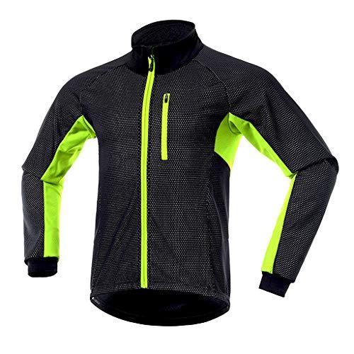 Giubbino Donna Ciclismo Giacca a Vento Donna Giacche Abbigliamento Antivento Jacket Inverno Cappotto Impermeabile Softshell Termico Riflettente per Abbigliamento Sci Trekking Corsa,Verde,M
