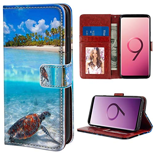 YaoLang Samsung Galaxy S9 Wallet Case, Sea Turtle Beach PU Leather Standable Wallet Phone Case with Card Holder Magnetic Hold for Samsung Galaxy S9