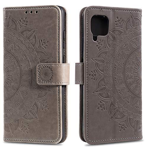 HTDELE für Samsung Galaxy A12 Hülle,Ultra Slim Flip Hülle Grau Etui mit Kartensteckplatz & Magnetverschluss Leder Wallet Klapphülle Book Hülle Bumper Tasche für Samsung Galaxy A12(T-Grau)