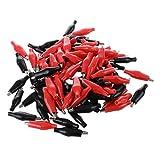SODIAL(R) 100 x Clip de Cocodrilo para Cables de Prueba, Negro / Rojo