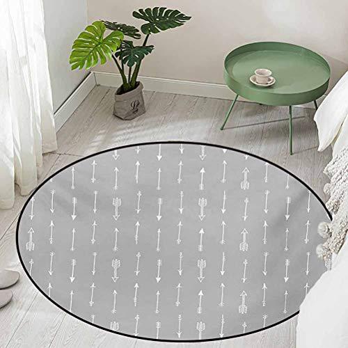 Round Office Chair Floor Mat Foot Pad Retro Pattern Arrow Triangle Shape Simple Minimalist Geometric Artwork Diameter 60 inch Outdoor Carpet