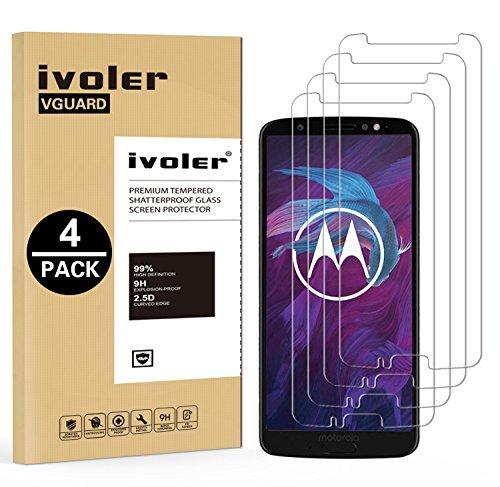 ivoler [4 Stücke] Panzerglas Schutzfolie für Motorola Moto G6 Plus, 9H Festigkeit, Anti- Kratzer, Bläschenfrei, [2.5D R&e Kante]