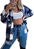 Camisa a cuadros para mujer suelta abajo chaqueta de manga larga mezcla abrigos tops con bolsillo