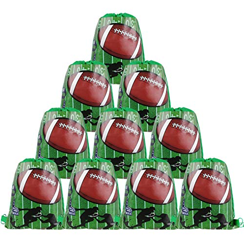 Cieovo 12 Pack Football Party Favor Goodie Bags, Treat Gift Drawstring Bag Football Backpack for Football Sports Theme Birthday Baby Shower Party Decoration Supplies