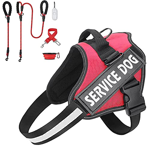 MUMUPET Service Dog Harness(Red,Medium) and 2 Pack Dog Leash 5 FT Heavy Duty Dog Leash(Red) with Poop Bags Dispenser & Pet Bowl & Pet Car Seat Belt Leads