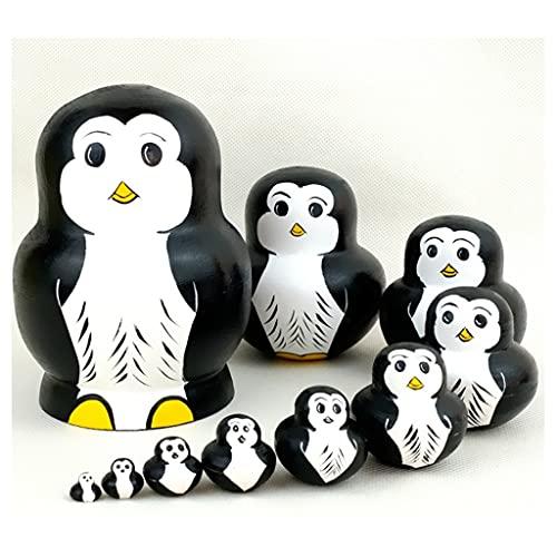 WINON Muñecas Rusas Matrioskas Ruso Matryoshka 10layer Penguin Matryoshka Muñeca Juguetes educativos Teclarísta étnica Creativo Hecho a Mano Productos (Color : Black)
