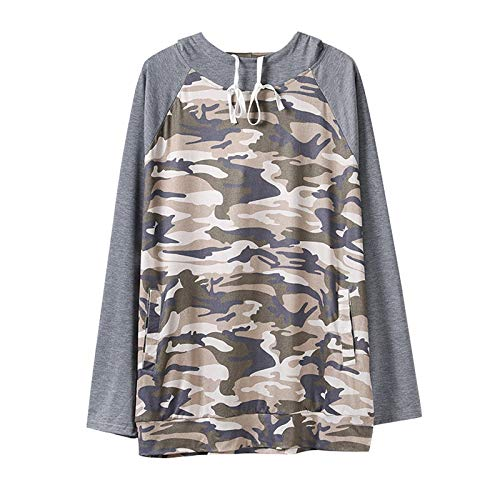 Pistaz Womens Casual Color Block Hoodies Long Sleeve Tops with Drawstring Sweatshirt with Pocket Camouflage Sweatshirt Color Block Shirts