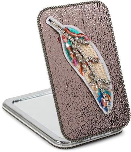 styleBREAKER Miroir de poche rectangulaire avec une plume brodée de strass, des perles et une chaîne, grossissant 1x / 3x, miroir compact de poche, pliant, 2 faces 05070007, couleur:Bronze métallique