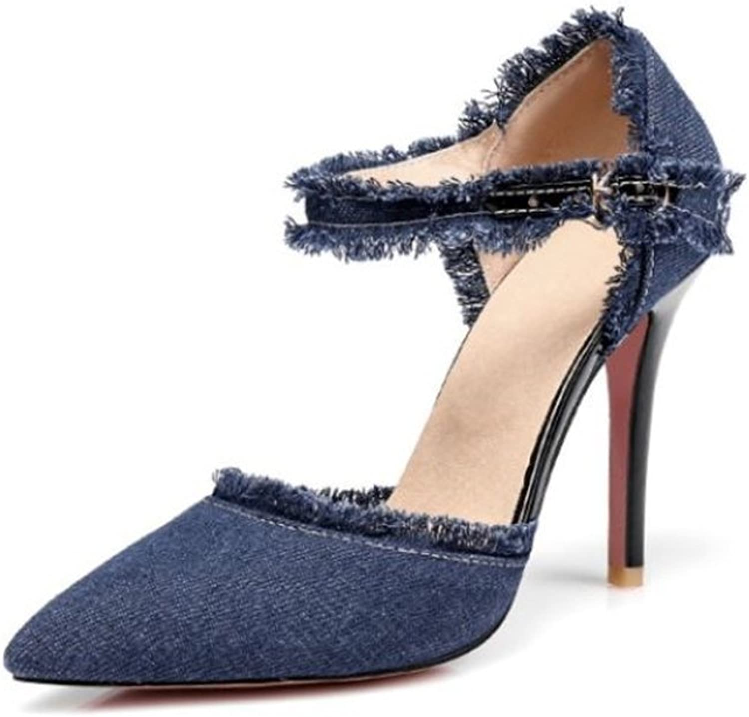 pink town Women Fashion Distressed Denim Open Toe High Heel Pointed Cowboy Mid Calf Sexy high Heel shoes