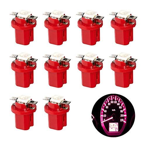 HopeU5® Red T5 B8.5D 5050 1-SMD Tablero de instrumentos del coche Tablero de instrumentos de luz LED Indicador del clúster Bombilla 12V (Paquete de 10 piezas)