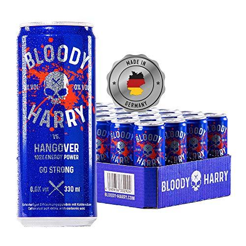 BLOODY HARRY® Premium Energy Drink | MADE IN GERMANY | Natürliches, Erfrischendes & Fruchtiges Geschmackserlebnis | Natürliches Koffein & wenig Zucker | 0,33l, EINWEG (24er-Pack) inkl. Pfand 6,00€