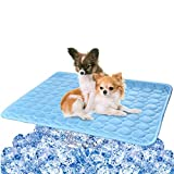 BESAZW Cooling Mat Pad for Dogs Cats Ice Silk Mat Cooling Blanket Cushion for Kennel/Sofa/Bed/Floor/Car Seats Cooling (Dog Cooling mat-Blue)