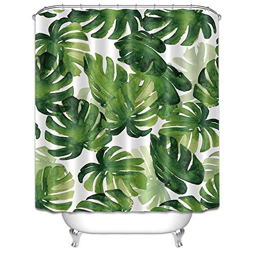 LB Duschvorhang Grüne Blätter 150x180CM Tropische Pflanzen Monstera Bad Vorhang Wasserdicht Polyester Stoff Anti-Schimmel Badezimmer Vorhänge mit 12 Haken