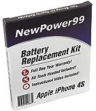 Kit sostituzione batteria iPhone 4S (Apple iPhone 4S A1387, Apple iPhone 4S A1431) con istruzioni video installazione, strumenti, e Batteria a lunga durata