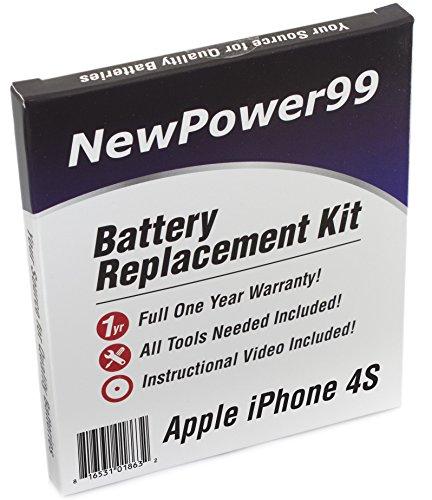 Apple iPhone 4S Batería de Repuesto Kit (Apple iPhone 4S A1387, Apple iPhone 4S A1431) con Instrucciones, Herramientas de instalación de vídeo, y Mayor duración de la batería