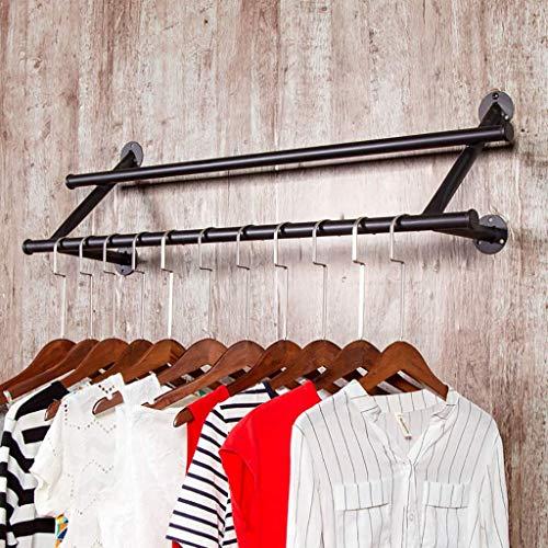 THEO HLP Aufhänger Storage Rack Gewerbe Garment Industrie Kleidung Anzeige Lieblingskleidung Garderobe Halter Handtuch Bügeleisen (Color : Black, Size : 120 * 26 * 26cm)