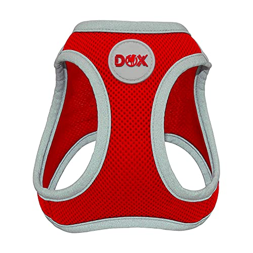 DDOXX Brustgeschirr Air Mesh, Step-In, reflektierend | viele Farben | für kleine, mittlere & mittelgroße Hunde | Hunde-Geschirr Hund Katze Welpe | Katzen-Geschirr Welpen-Geschirr | Rot, XS