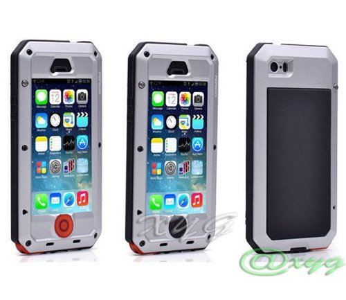 New Waterproof Shockproof Aluminum Gorilla Glass Metal Military Heavy Duty Armor Bumper Cover Case for Apple iPhone 5 5S Home Key +Fingerprint (Silver)