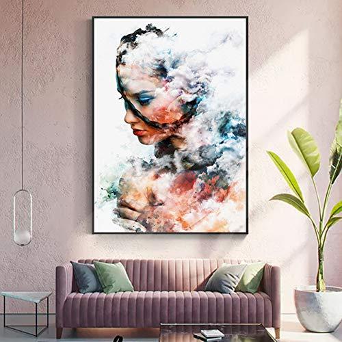 QAZEDC Leinwand Gemälde Melancholie junges Mädchen Leinwand Malerei romantische Poster drucken Wandkunst Bild Dekoration für Wohnzimmer Mädchen Schlafzimmer-70x100cm