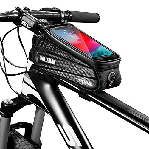 WILD MAN Rainproof Bicycle Front Frame Bike Bag with Touch Screen Phone Mount for Road Mountain Bike(Black,ES3)