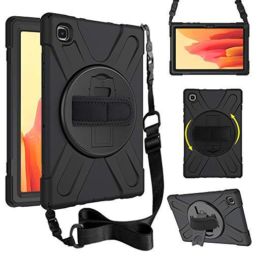 Junfire Funda para Samsung Galaxy Tab A7 2020.10.4 pulgadas (SM-T500/T505/T507), resistente, antigolpes, con correa para el hombro y correa de mano, soporte giratorio 360°, color negro
