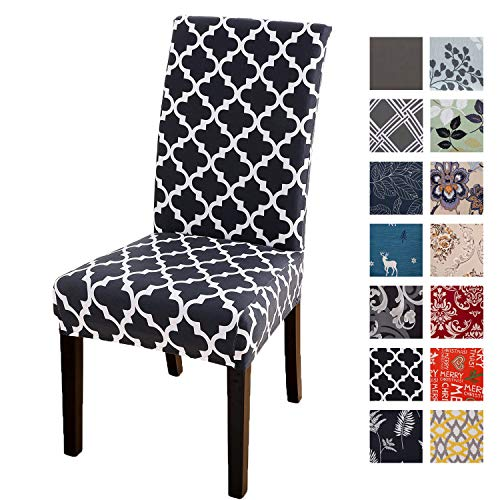 Printed Dining Chair Slipcovers, Removable Washable Soft Spandex Stretch Chair Covers Banquet Chair Seat Protector Slipcover for Kitchen Home Hotel (Set of 4, Black Geometric)