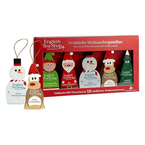 """English Tea Shop - BIO Wintertee Kollektion, """"Fröhliche Weihnachtsgesellen"""", 10 Pyramidenbeutel zum Aufhängen"""