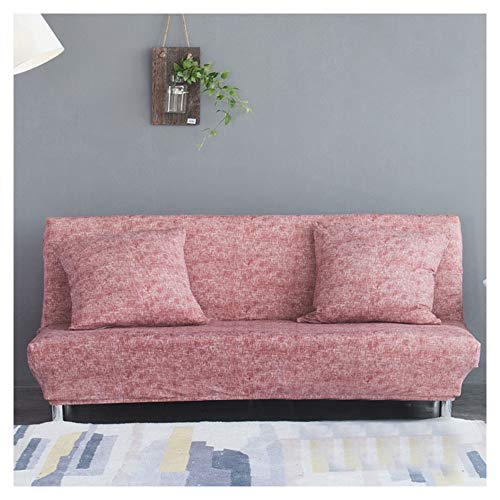 ABBD Stretch Armless Sofa Bed Cover washable, armless sofa chair slipcover, All inclusive Furniture Protector for living room, sofa covers for Kids, Dogs, Pets-Pink-M