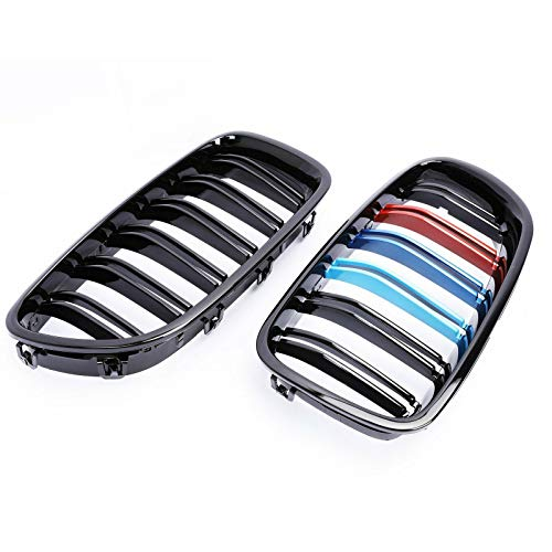 SHENGYAWAUTO M-Color Front Kidney Grill Grille for BMW M5 F10 528i 535i 550i Sedan 2009-2016