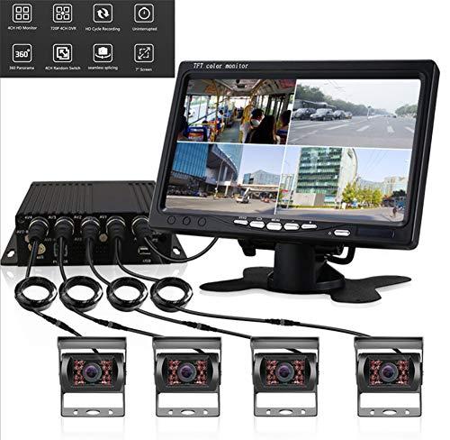WYYHAA Rückfahrkamera Und Monitor Set, Rückfahrkamera 7-Zoll-HD-Quad Split-Monitor Und 4 Backup-Kamera-Kit wasserdichte IR-Nachtsicht-Video-Backup