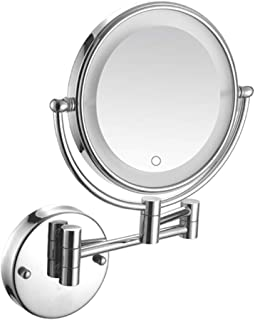 LED Lighted Vanity Mirror, Wall Mount Makeup Mirror Two-Sided Beauty Mirror 5X Magnifying Bathroom Mirror Shaving in Bedroom or Bathroom Hardwired Connection,Blck