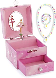 RR ROUND RICH DESIGN Kids Musical Jewelry Box for Girls with Drawer and Jewelry Set with Gymnastics Girl Theme - Swan Lake Tune Pink