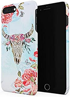 Ornamented Wild Bull Skull With Red Rose Blossoms Hard Plastic Phone Case For iPhone 7 Plus & iPhone 8 Plus