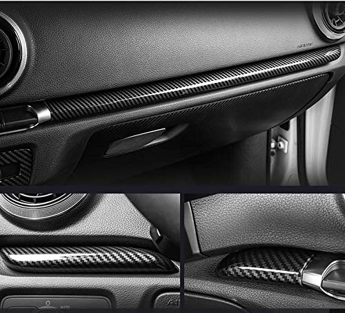 HDCF 7 Teile/satz ABS Kohlefaser Stil Mittelkonsole Armaturenbrett Zierleisten & Tür Zierleisten Für A3 8 V 2014-18