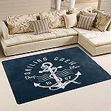 SunsetTrip Ocean Sea Nautical Anchor Pattern Alfombra para sala de estar, dormitorio, alfombra moderna, antideslizante, suave al tacto, extra grande, lavable, 152 x 99 cm