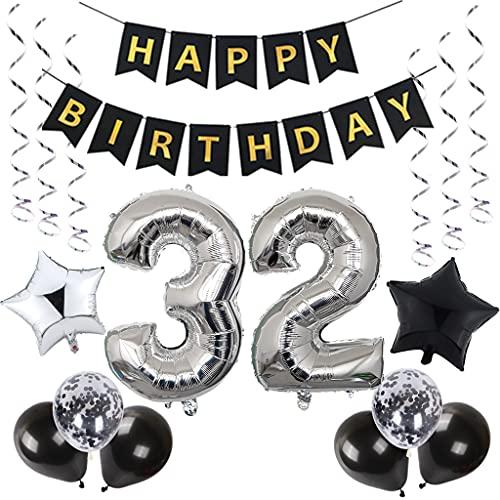 32. Palloncini decorativi per compleanno, 32 anni, per uomini, colore nero e argento, 32° compleanno, per 32° compleanno, per feste di compleanno, per 32° compleanno, per 32° compleanno