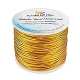 PH PandaHall 2mm 50m/ 54 Yards Metallic Tinsel Elastic Cord Polyester Ribbon Stretch Cord for Jewelry Making Christmas Wrap Ribbon, Gold