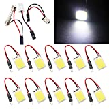 Qasim COB Chipset 18-SMD LED Panel Dome Light Auto Car Interior Reading Plate Lamp Roof Ceiling Interior Bulb With T10 / BA9S / Festoon Adapters 25x15mm White(Pack of 10)