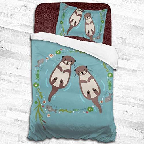 Knncch Ultra Soft Microfiber Otter 3-Piece Bedding Set Duvet Cover Set,2 Pieces Pillowcase