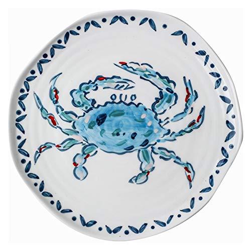 YINGYINGSM Teller Kreative handgemalte Hummer-Fisch-Garnelenkrabbe-Flache Platten Keramik japanische Küche Restaurant Geschirr niedlichen Essensabendessen Küche (Color : 1PC)
