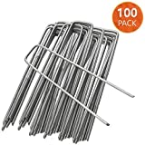 ANSIO 100-Pack Garden Stakes Lawn Staples -150mm / 6 '' U Shaped Weed Nail Cloth Stakes Hot-dip Galvanized Rustproof